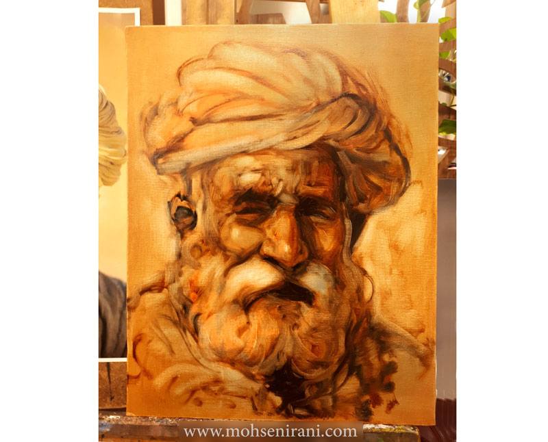 نقاشی چهره با رنگ روغن