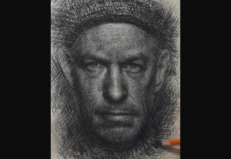 طراحی چهره با هاشور مداد